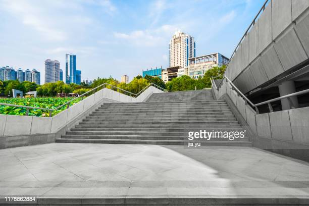 a long upward staicase in city - wuhan stock photos and pictures