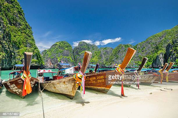 CONTENT] a Longtail boats on Maya Beach the most popular and beautiful beach of the Phi Phi archipelago in the Andaman Sea It belongs to the Krabi...