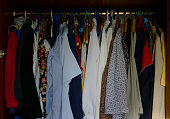 lot old different clothes wardrobe