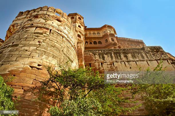 A low angle view of Mehrangarh Fort,Jodhpur,India.