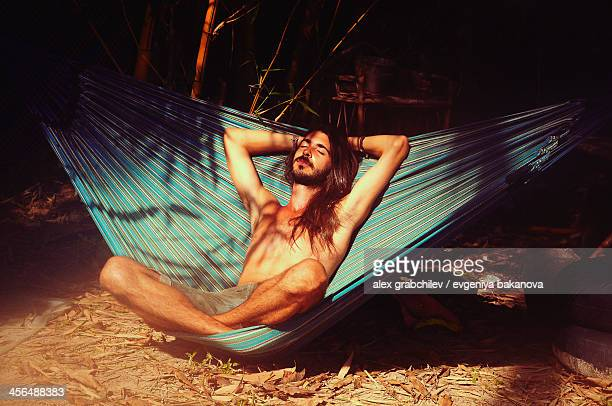 a man in a hammock, Cambodia