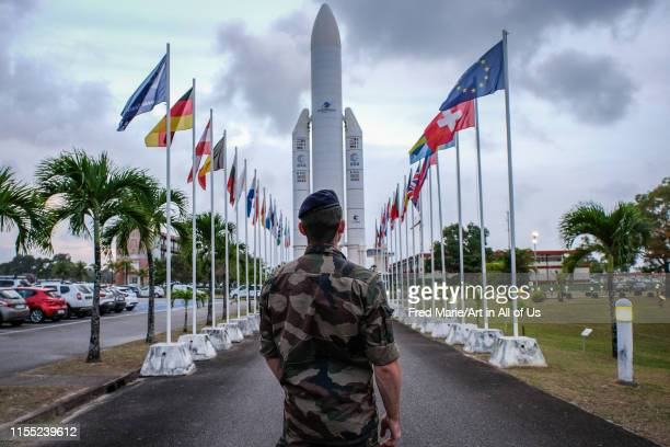 a man looking at the Arian rocket model during the Titan Operation in french Guyana Guyane Kourou France on December 05 2018 in Kourou France