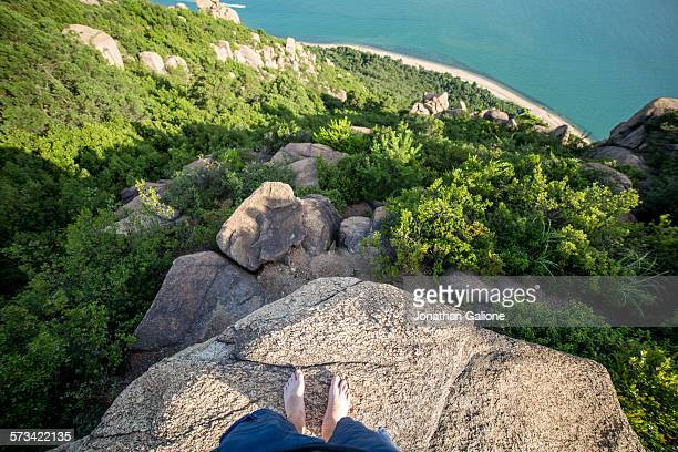 POV of a man standing on the edge of a cliff