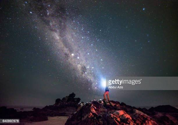 a man standing with headlamp and milkyway at sawarna indonesia