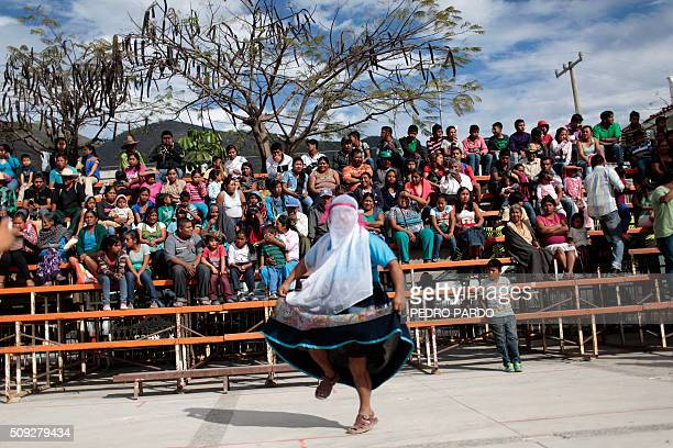 TOPSHOT a man takes part in the traditional Xochimilcas fight to defend their women against the Aztecs in the Mexican municipality of Zitlala in...