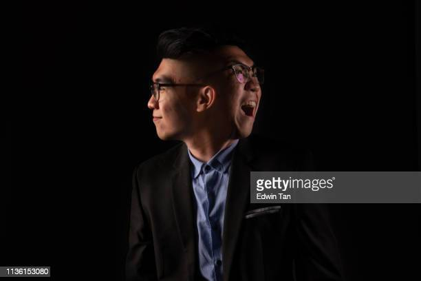 a man with 2 faces happy and angry