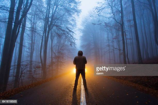 a man with light in the wood