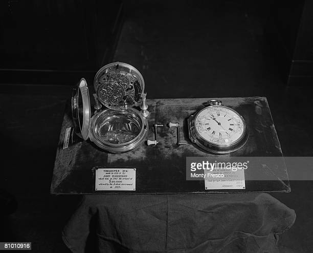 'H4' a marine chronometer completed in 1759 by English clockmaker John Harrison on display at the Science Museum London 22nd May 1952 The timepiece...