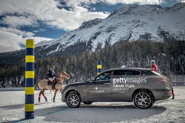 a Maserati Levante is displayed during the Snow Polo World Cup St Moritz 2018 on January 27 2018 in St Moritz Switzerland