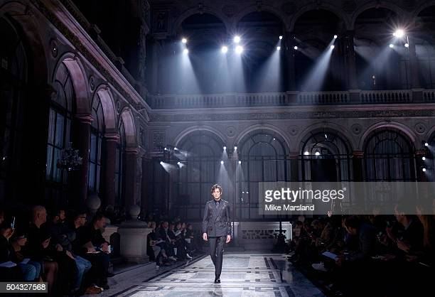 a model walks the runway at the Alexander McQueen show during The London Collections Men AW16 at on January 10 2016 in London England