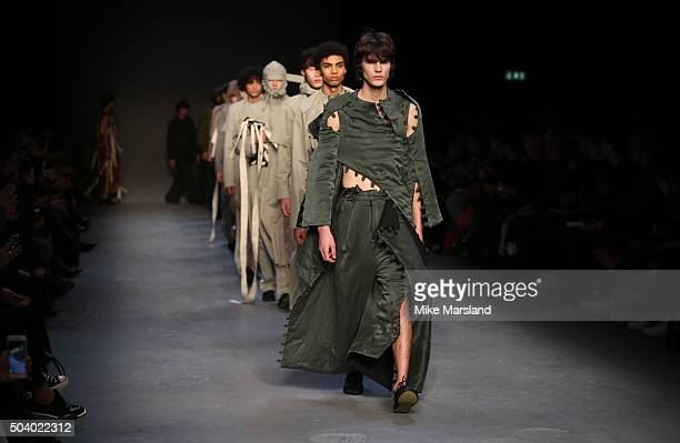 a model walks the runway at the Craig Green show during The London Collections Men AW16 at Topman Show Space on January 8 2016 in London England