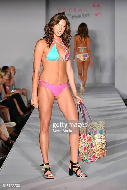 a model walks the runway at Versakini x Amanda Perna Runway Show Presented By Ivy at W South Beach on July 13 2016 in Miami Beach Florida