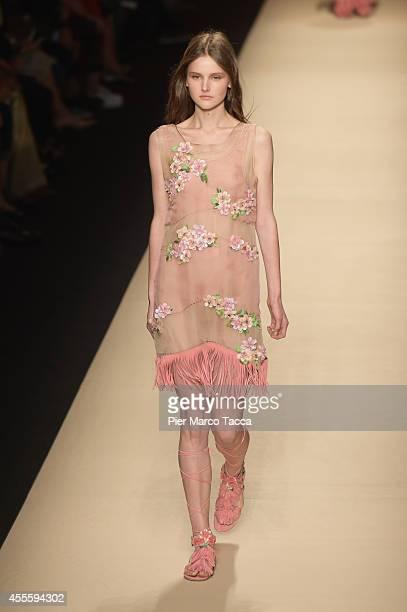 a model walks the runway during the Alberta Ferretti show as part of Milan Fashion Week Womenswear Spring/Summer 2015 on September 17 2014 in Milan...