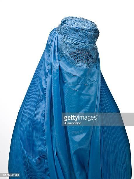 a Muslim woman wearing a blue burka