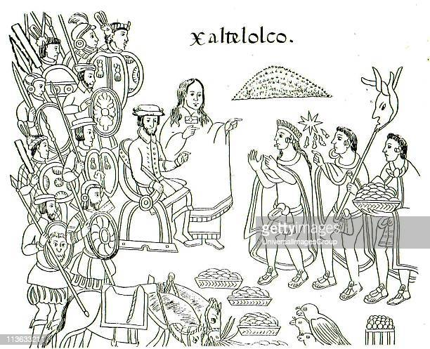 a painting from Diego Munoz Camargo's History of Tlaxcala c 1585 showing La Malinche and Hernán Cortes