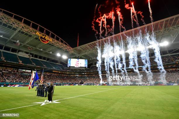 a performer sing the USA national anthem before the International Champions Cup 2017 match between Paris Saint Germain and Juventus at Hard Rock...