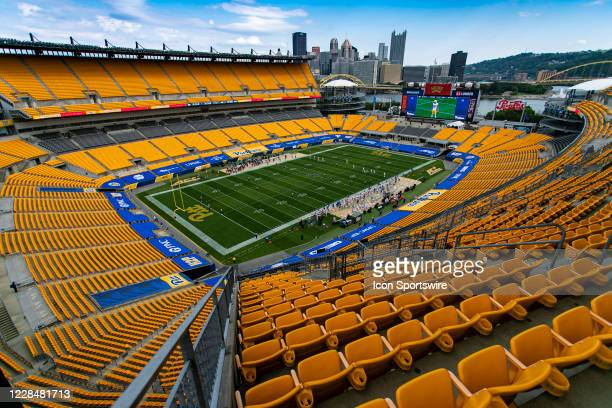 A photo of an empty stadium as the Pittsburgh Panthers kick off to start the game during the college football game between the Austin Peay Governors...