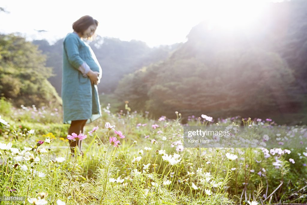 a pregnant woman in flower fields : Stock Photo