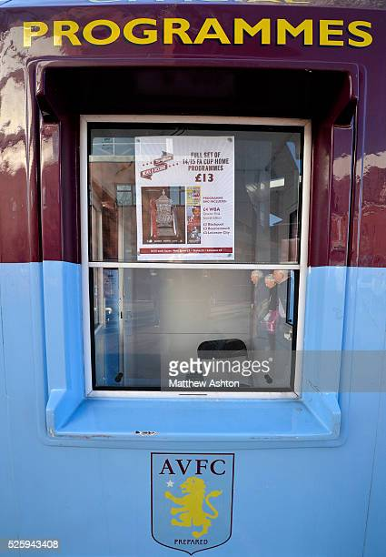 a programme sellers box / hut with an advert to buy all of the FA Cup fixture matches programmes outside of the Aston Villa ground