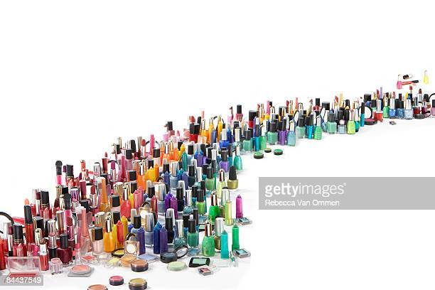 a rainbow of cosmetics - large group of objects stock pictures, royalty-free photos & images