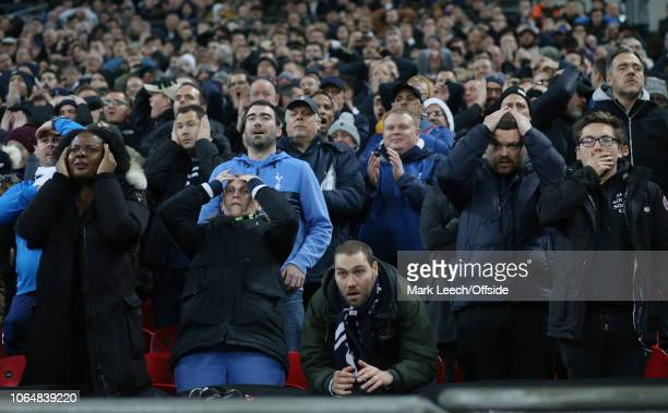 a rare moment of anxiety for the Tottenham supporters during the Premier League match between Tottenham Hotspur and Chelsea FC at Wembley Stadium on...
