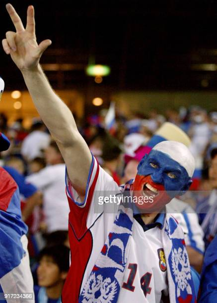 a Russian soccer fan gestures before the Group H first round match Japon/Russia of the 2002 FIFA World Cup in Korea and Japan 09 June 2002 at...
