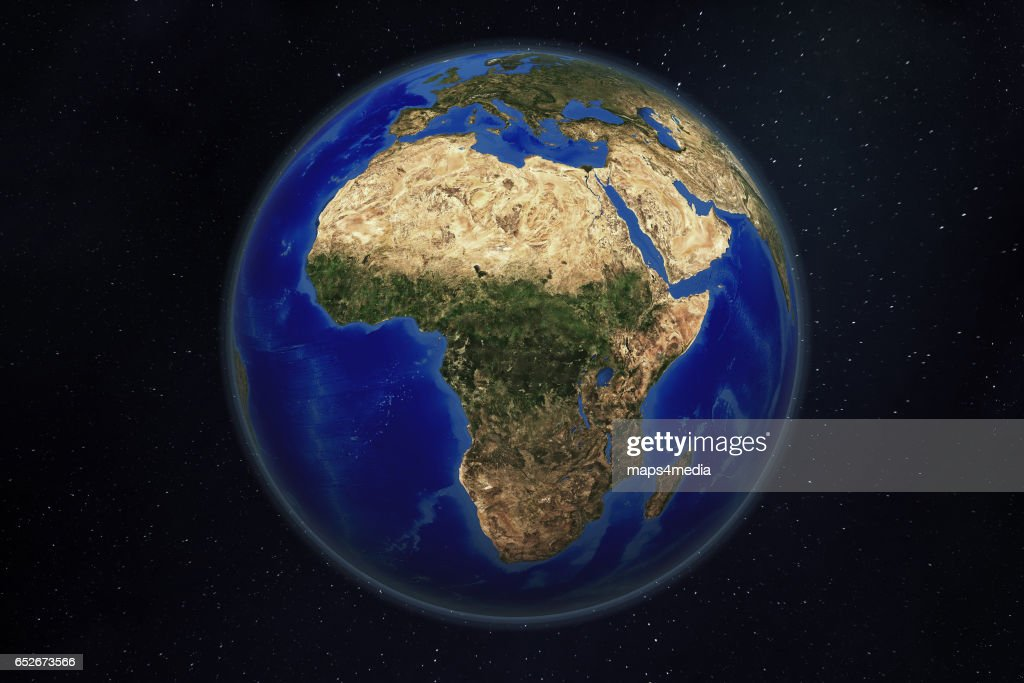 CONTINENT SERIES, AFRICA: a satellite and 3d rendered world globe earth image of Africa. : News Photo