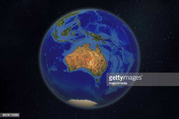 a satellite and 3d rendered world globe earth image of Australia Photo Maps4media via Getty Images
