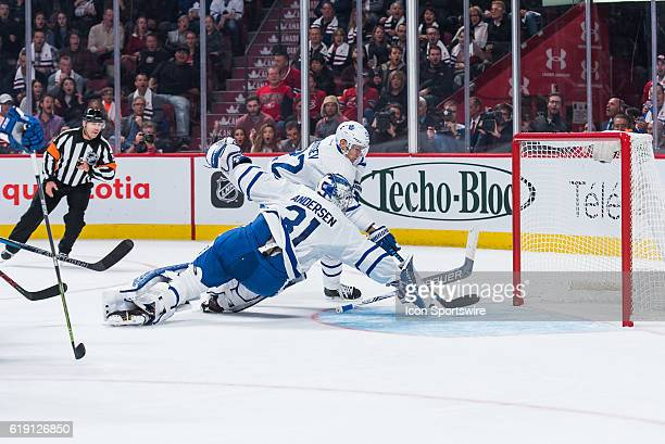 a save from Toronto Maple Leafs Goalie Frederik Andersen on an impossible shot during the Toronto Maple Leafs versus the Montreal Canadiens game on...