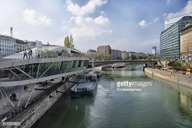 a scenery from danube canal in vienna - emreturanphoto stock pictures, royalty-free photos & images