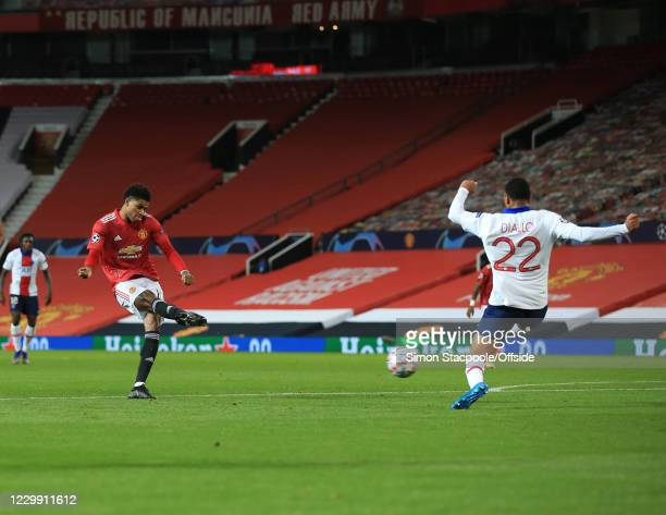A shot from Marcus Rashford of Manchester United is deflected for the equalising goal during the UEFA Champions League Group H stage match between...
