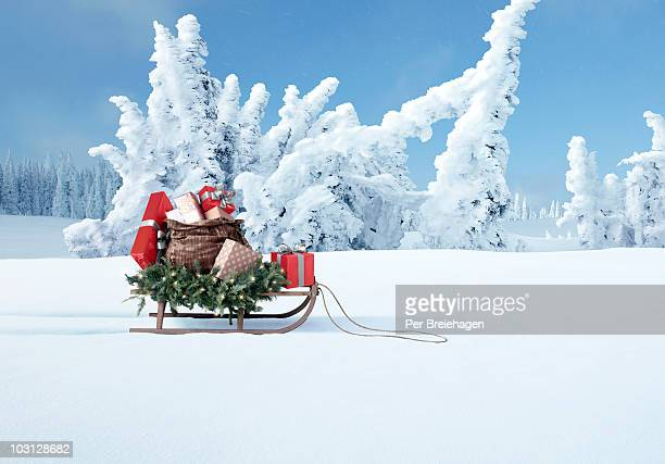 a sled full of Christmas gifts
