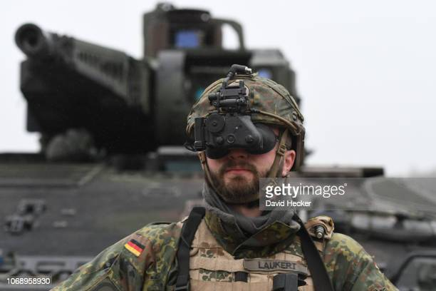 a soldier of the armored personnel carrier Puma of the German Bundeswehr with his new night vision camera during a training at the Bundeswehr...