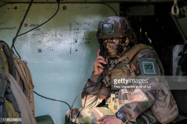 a soldier on the radio during a training in south of France for the Falcon Amarante mission Occitanie Caylus France on Novembre 16 2018 in Caylus...