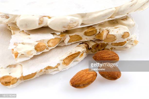 a spanish christmas dessert made mainly from almonds - nougat stock pictures, royalty-free photos & images