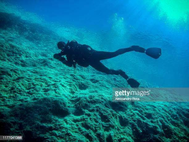 A sport divers is seen during a dive in Ithaca on August 17, 2019.