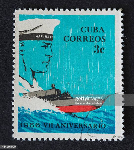 CUBA CIRCA 1966 a stamp printed in the Cuba shows Midshipman and Missile Frigate Anniversary of the Revolutionary Navy circa 1966