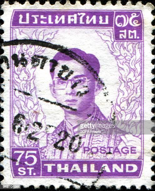 CIRCA 1972 a stamp printed in the Thailand shows King Bhumibol Adulyadej Rama IX Thailand