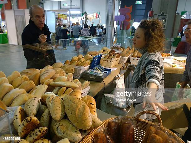 a stand of different kind of biological bread at bio fair in Milano