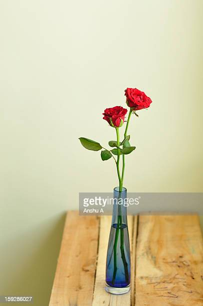 A still life with two roses in blue vase laid out on a wooden board.