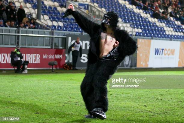 a Streaker during the 3 Liga match between SV Wehen Wiesbaden and Karlsruher SC at on February 2 2018 in Wiesbaden Germany