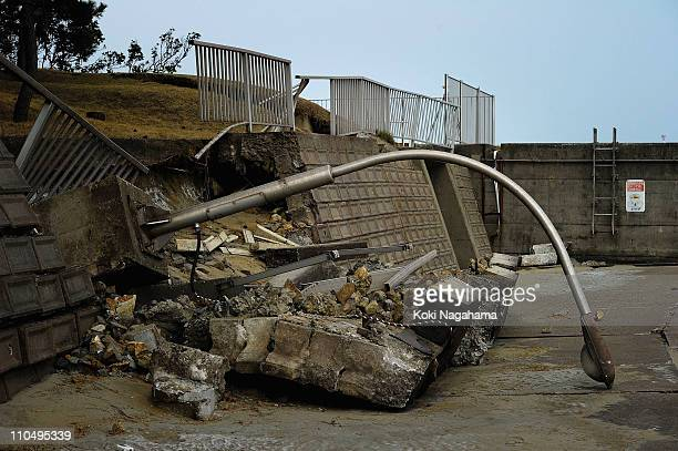A street lamp is damaged on March 20, 2011 in Kashima, Ibaraki, Japan. The 9.0 magnitude strong earthquake struck offshore on March 11 at 2:46pm...