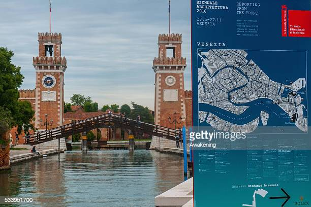 A a street sign in the Arsenale area announcing the 15th Architecture Venice Biennale on May 24 2016 in Venice Italy The 56th International...