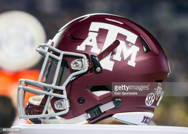 a Texas AM helmet rests on the sideline during a game between the Texas AM Aggies and the LSU Tigers on November 25 2017 at Tiger Stadium in Baton...