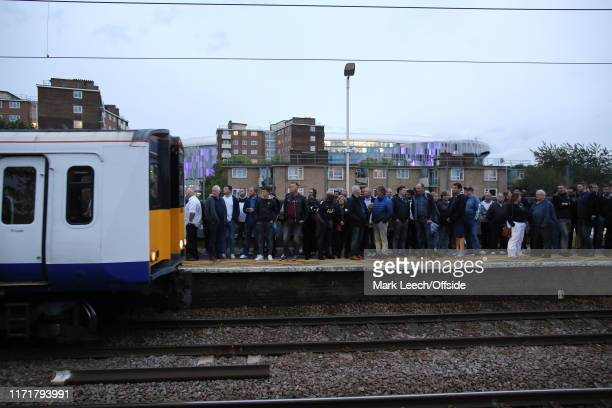 a train pulls in to White Hart Lane station after the Premier League match between Tottenham Hotspur and Southampton FC at Tottenham Hotspur Stadium...