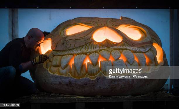 NOTE a tungsten white balance and orange gels have been used to in daylight conditions to create this image Pumpkin carver Christian Russell puts the...