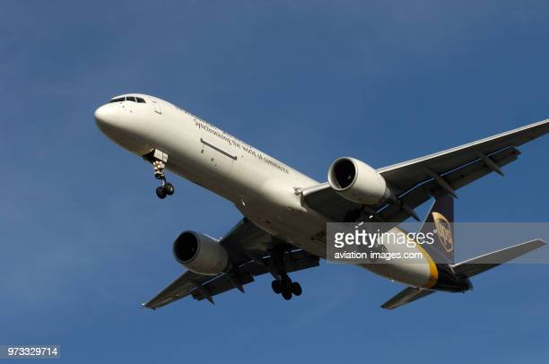 A UPS United Parcel Service Boeing 757-200 on final-approach.