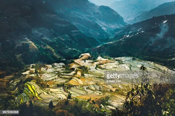 a valley of rice terrace field in yuan-yang , yunnan province china - yuanyang imagens e fotografias de stock