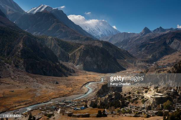 a view near manang, annapurna circuit trek, nepal - annapurna south stock pictures, royalty-free photos & images