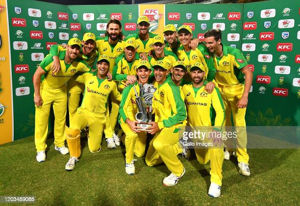 A view of Australia team with the trophy during the 3rd KFC T20 International match between South Africa and Australia at Newlands Cricket Stadium on...